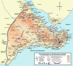 Map of Byzantine Constantinople. Our inscription was found in the area of churches of Hagia Sofia and Hagia Eirene