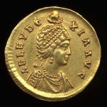 "Gold coin showing image of empress Eudoxia. Inscription reads ""AEL(IA) EUDOXIA AUG(USTA)"