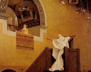 John Chrysostom confronting Aelia Eudoxia, in a 19th-century painting by Jean-Paul Laurens