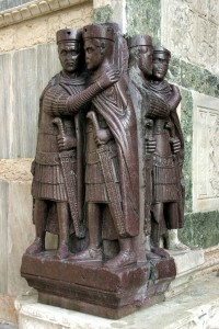 Porphyry statues of emperors, probably of First Tetrarchy (293-305). From Constantinople, now Venice, San Marco
