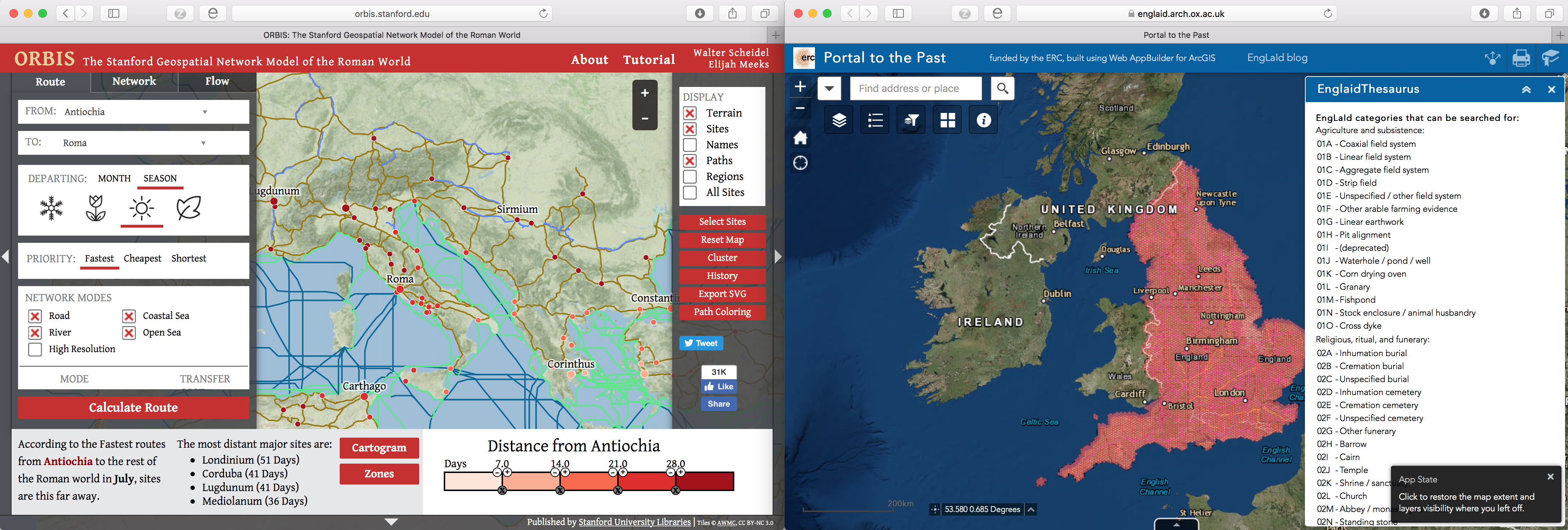Figure 1 - Public-facing GIS tools from ORBIS and EngLaId.